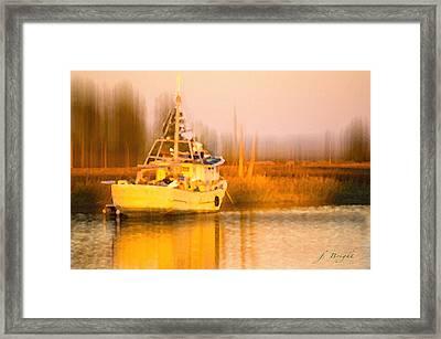 Ship At Dusk  Framed Print by Frank Bright