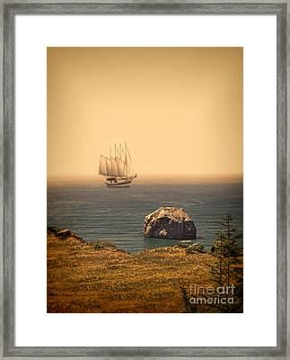 Ship Off The Coast Framed Print