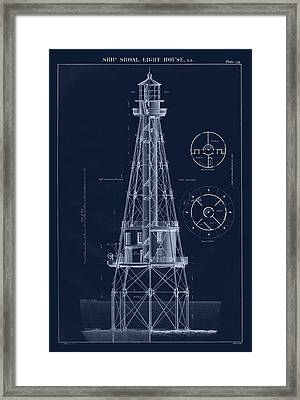 Ship Shoal Lighthouse Drawing Framed Print by Jerry McElroy