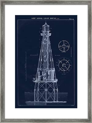 Ship Shoal Lighthouse Drawing Framed Print