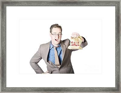 Shocked Business Man Holding Sale Cash Back Bag Framed Print