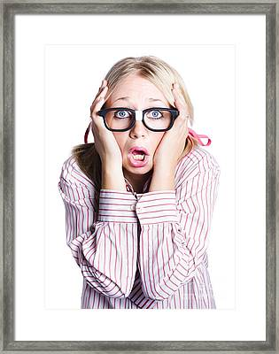 Shocked Business Woman On White Framed Print