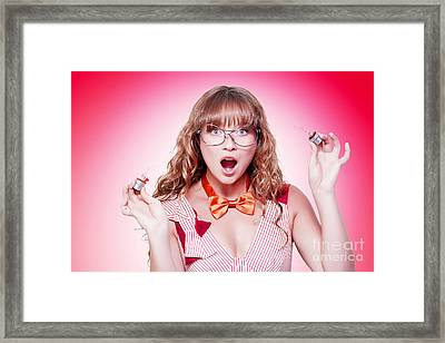 Shocked Genius Business Woman With Explosive Idea Framed Print