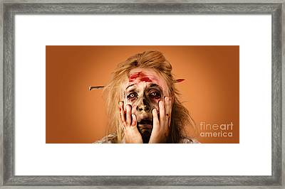 Shocked Horror Halloween Zombie With Hands Face Framed Print
