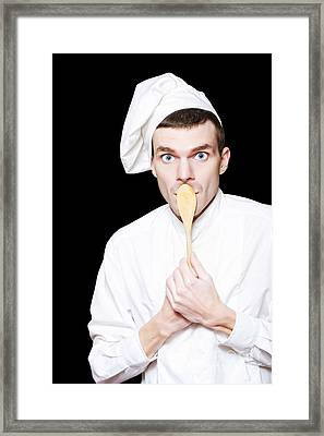 Shocked Male Chief With Secret Recipe  Framed Print by Jorgo Photography - Wall Art Gallery