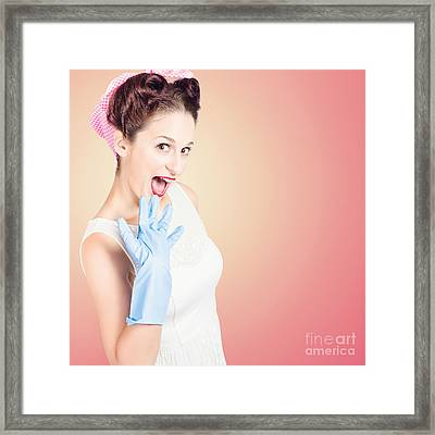Shocked Pin-up Cleaner Girl With Funny Expression Framed Print