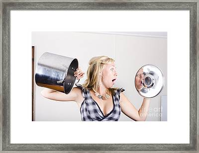 Shocked Woman Out Of Cooking Ingredients Framed Print