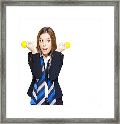 Shocked Woman With Ideas Of Business Innovation Framed Print