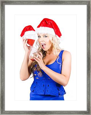 Shocked Woman With Minutes Left To Christmas Time Framed Print