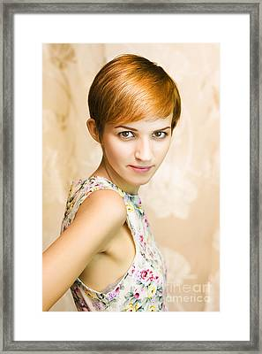 Short Haired Girl In Floral Dress Framed Print by Jorgo Photography - Wall Art Gallery