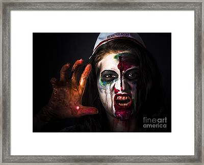 Shouting Monster Reaching With Fear Gripping Anger Framed Print by Jorgo Photography - Wall Art Gallery