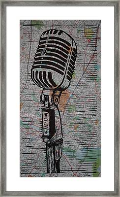 Shure 55s On Map Framed Print