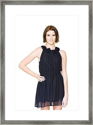 Shy Woman Trying On Black Formal Evening Outfit Framed Print by Jorgo Photography - Wall Art Gallery