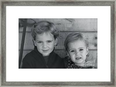 Framed Print featuring the photograph Siblings by Barbara Dudley