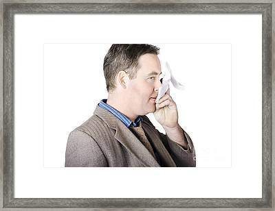 Sick Business Man With Cold And Flu Cough Framed Print by Jorgo Photography - Wall Art Gallery