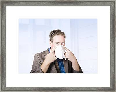 Sick Male Office Worker With Cold And Flu Virus Framed Print