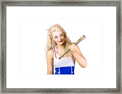 Sightseeing Voyage Pin-up Girl With Telescope Framed Print by Jorgo Photography - Wall Art Gallery