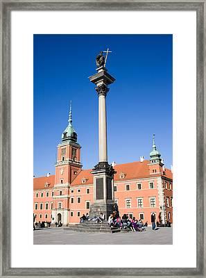 Sigismund's Column And Royal Castle In Warsaw Framed Print by Artur Bogacki
