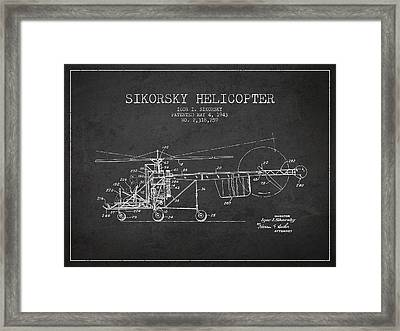 Sikorsky Helicopter Patent Drawing From 1943 Framed Print