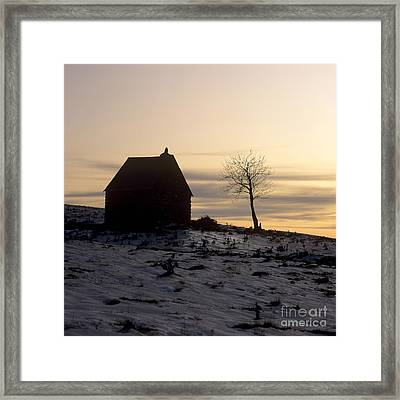 Silhouette Of A Farm And A Tree. Cezallier. Auvergne. France Framed Print