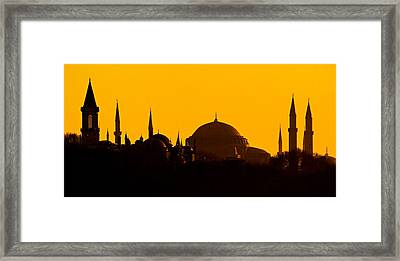 Silhouette Of A Mosque, Blue Mosque Framed Print