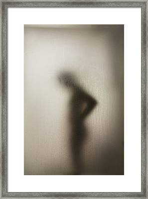Silhouette Of A Nude Woman Behind The Framed Print