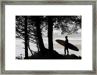 Silhouette Of A Surfer Looking Out To Framed Print by Deddeda