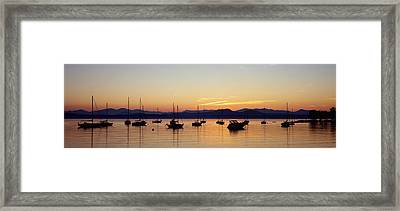 Silhouette Of Boats In A Lake, Lake Framed Print