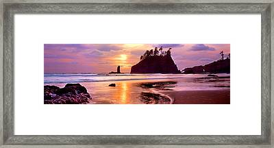 Silhouette Of Sea Stacks At Sunset Framed Print
