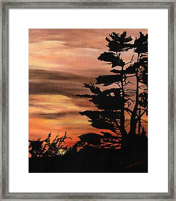 Framed Print featuring the painting Silhouette Sunset by Mary Ellen Anderson