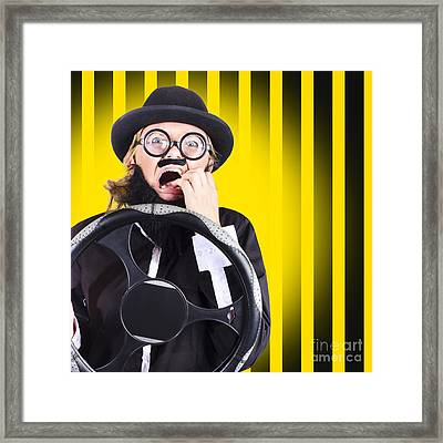 Silly Driver In A Nail Biting Car Crash Framed Print by Jorgo Photography - Wall Art Gallery