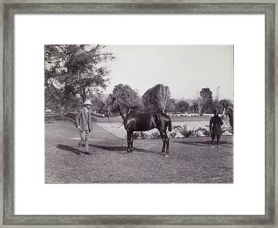 Sir Hugh Barnes With His Horse Framed Print by British Library