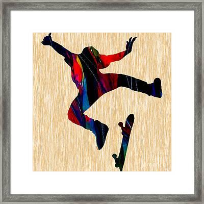 Skateboarder Art Framed Print by Marvin Blaine
