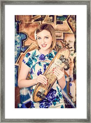 Skater Girl From 1950s Holding Wooden Skate Deck Framed Print by Jorgo Photography - Wall Art Gallery