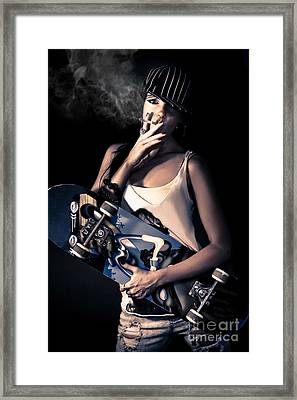 Skater Girl Smoking A Cigarette Framed Print by Jorgo Photography - Wall Art Gallery