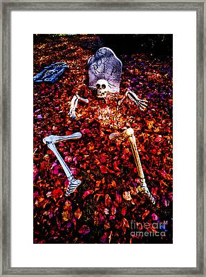 Skeleton Rising From The Dead Framed Print by Amy Cicconi