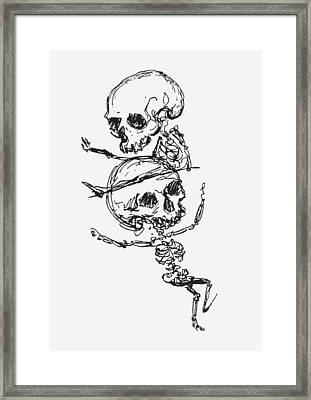 Skeletons, Illustration From Complainte De Loubli Et Des Morts Framed Print by Jules Laforgue