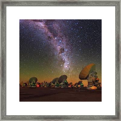 Sky Above Alma Radio Telescope Framed Print