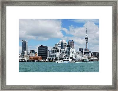 Skyline Of Downtown Auckland, Auckland Framed Print by Lynn Seldon