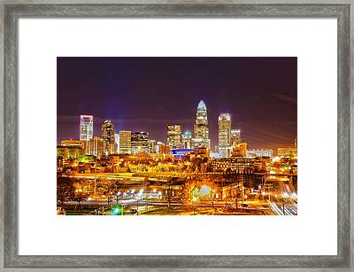 Framed Print featuring the photograph Skyline Of Uptown Charlotte North Carolina At Night by Alex Grichenko