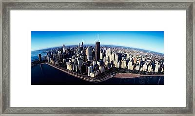 Skyscrapers In A City, Lake Shore Framed Print