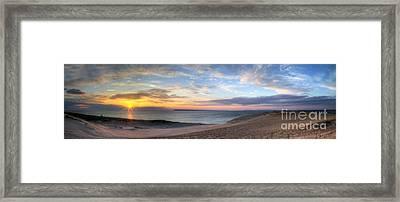 Sleeping Bear Dunes Sunset Panorama Framed Print