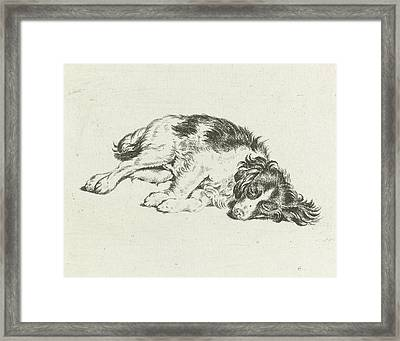 Sleeping Dog, Hendrik Godart De Mare Framed Print by Hendrik Godart De Mar?e