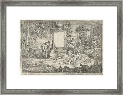 Sleeping Shepherdesses, Adriaen Van Der Kabel Framed Print