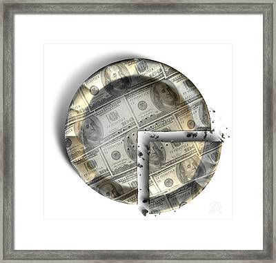 Slice Of Us Dollar Money Pie Framed Print