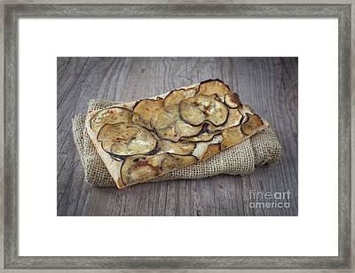 Sliced Pizza With Eggplants Framed Print