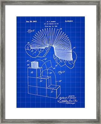 Slinky Patent 1946 - Blue Framed Print