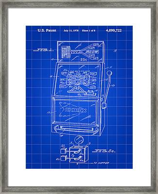 Slot Machine Patent 1978 - Blue Framed Print by Stephen Younts