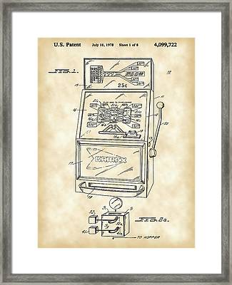 Slot Machine Patent 1978 - Vintage Framed Print by Stephen Younts