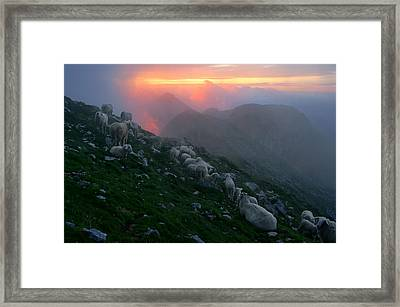 Framed Print featuring the photograph Slovenian Sunset by Graham Hawcroft pixsellpix